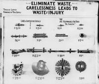 "Waste elimination board - ""Eliminate waste. Carelessness leads to waste and injury\"
