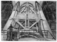 Drawing of a person at control panel looking up at Hale Telescope inside dome
