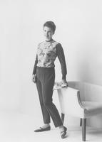 Jacquelyn Mayer, Miss America 1963, in Ban-Lon sweater and slacks by Lady Puritan