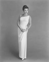 Jacquelyn Mayer, Miss America 1963, in William Skinner's Ban-Lon warp knit evening gown by Ceil Chapman