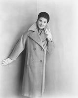 Jacquelyn Mayer, Miss America 1963, in coat by Weatherbee in Crompton-Richmond's Everglaze Minicare corduroy