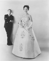 Nancy Anne Fleming, Miss America 1961, in pageant gown created by Alfred Bosand of Everglaze white cotton satin and Ban-Lon lace