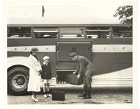 Driver loading luggage on Greyhound Bus