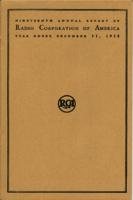 Nineteenth Annual Report of Radio Corporation of America Year Ended December 31, 1938