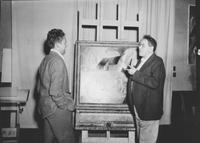 Andrew Wyeth and N.C. (Newell Convers) Wyeth standing before a painting