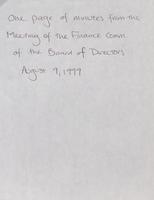 Finance Committee minutes [August 9, 1998 and October, 11, 1999]