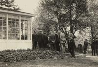 Group on terrace at the home of Fred Fisher in Cleveland, Ohio