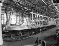 Original Burlington Zephyr train under construction at the Budd Company factory