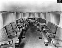 Interior of observation car on the Mark Twain Zephyr train built by the Budd Company.