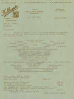Holland's Caterers and Confectioners to Mrs. William du Pont, Jr., 1940-07-09