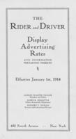 Rider and Driver Advertising Display Rates, 1914