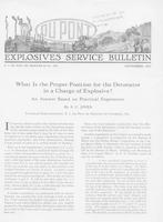 Explosive Service Bulletin, What is the Proper Position for the Detonator in a Charge of Explosive?