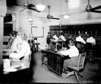 Motive power telephone exchange, operating room, switchboard