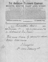 Telegram from Percival Drayton to Samuel Francis du Pont