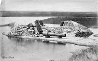 Dismounted 200 pounder, Captain Shaw, 3rd Regiment, 1st gun which opened on [Fort] Sumter, left batteries