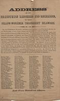 Address of the Brandywine Laborers and Mechanics, to their Fellow-Workmen Throughout Delaware, 1862