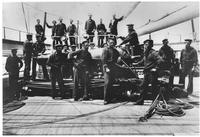 Samuel Francis du Pont and crew on deck of ship