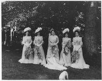 Louise du Pont Crowninshield on her wedding day with her bridesmaids