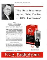 """The best insurance against tube troubles...RCA Radiotrons"" says John S. Gorman..."
