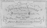 Ticket to second annual ladies reception of the Brandywine Club, 1893
