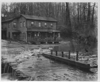 Sam Frizzell's store on Main Street, opposite Breck's Mill, after freshet in Brandywine Creek