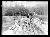 Repairing Hagley Yard dam near graining mill