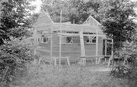 Wooden outbuilding under construction on Bushkill property