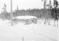 Cabin in snow during first Canadian trip
