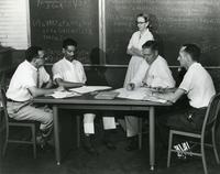 Grace Hopper and students with blackboard