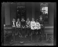 3500 Powelton Ave., children in a row on the back porch
