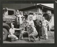 Cinecraft staff photograph, generator truck and employees