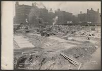 Chicago Union Station construction: Looking northwest from Jackson and Canal