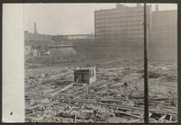Chicago Union Station construction: View looking south from middle of block (Adams St.)
