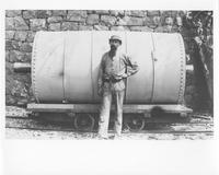 Moses Campbell with glazing barrel