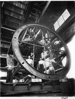 Westinghouse employees with steel revolving cage for Hale Telescope before transport