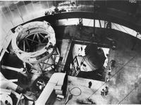 Bringing in section of horseshoe for Hale Telescope yoke mount through hatch into Mount Palomar dome