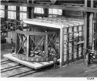 Preparing steel revolving cage for Hale Telescope for transport