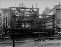 Construction of first stories of PSFS Building along Market Street