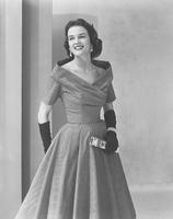 Neva Jane Langley, Miss America 1953, in dress by Ceil Chapman in Fullers Everglaze Sunbeam Moire