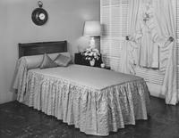 Hollands Everglaze Tutored bedspread, draperies and cafe curtains by N. Sumergrade & Sons