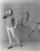 Marilyn Van Derbur, Miss America 1958, in Alamac's Permathal Everglaze cotton knit pants and hooded pullover by Aileen