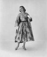 Marilyn Van Derbur, Miss America 1958, in Henry Glass' Everglaze Minicare sheer dress with Everglaze cotton satin coat by Harou Inc.