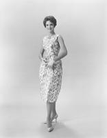 Lynda Mead, Miss America 1960, in Everfast Everglaze Beaucaire printed cotton satin late day dress by Ann Klein for Junior Sophisticates