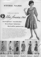 Store advertisement template for Miss America 1964 promotional fashion shows