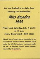 Invitation to Miss America 1955 fashion show at Rike-Kumler Co. Department Store (Dayton, Ohio)