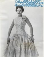 Lee Meriwether, Miss America 1956, in Glass Original cocktail dress in Everglaze Souvenir Satin by Marvlo