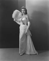 Marian McKnight, Miss America 1957, in Customs Everglaze cotton peau de soie gown by Edith Small
