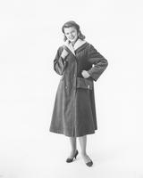 Marilyn Van Derbur, Miss America 1958, in Crompton's Everglaze Minicare corduroy coat by Weatherbee
