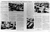 Newspaper clipping detailing Northwest Airlines' UNIVAC purchase