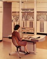 Airline employee with UNIVAC 490 reservation system
